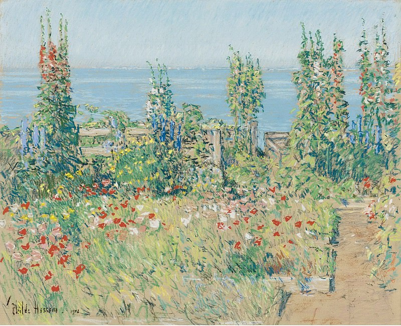 Картины с аукционов Sotheby s - Frederick Childe Hassam - Hollyhocks, Isle of Shoals, 1902