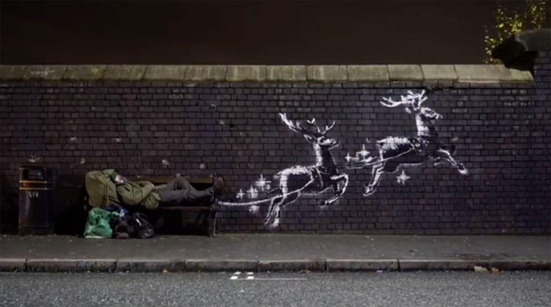 В Бирмингеме появилось рождественское граффити от Бэнкси