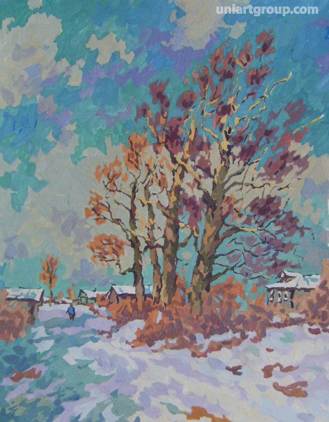 Зимний деревенский пейзаж живопись