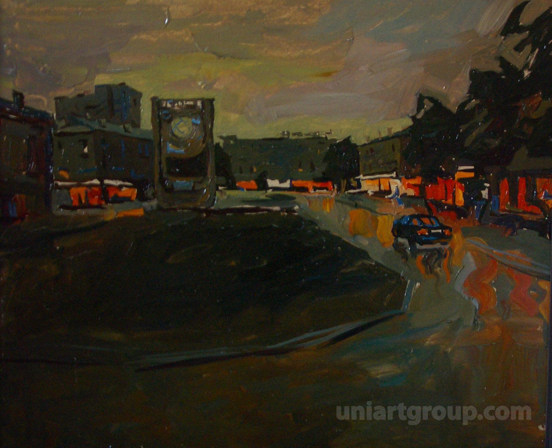 ночной город живопись пейзаж